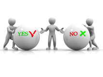 Choise YES or NO. 3d Very beautiful three-dimensional illustration Royalty Free Stock Photos
