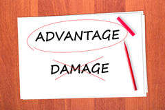 A choisi le mot AVANTAGE Image stock