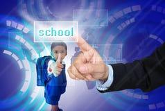 Choisissez l'école pour l'enfant images libres de droits