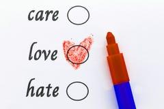 Choisissez l'amour, concept d'amour Photo stock
