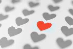 Choisissez le coeur rouge au foyer et à beaucoup de coeurs gris Image stock