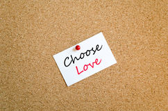 Choisissez le concept collant de note d'amour photographie stock