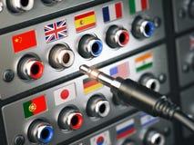Choisissez le langage En apprenant, traduisez les langues ou le guide audio Co illustration stock