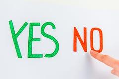 Choisissez oui ou non Photo libre de droits