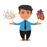 Choix de cerveau ou de coeur, concept d'affaires, illustration de vecteur Images stock
