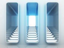 Choix de manière de trois escaliers dans la conception légère bleue Photographie stock libre de droits