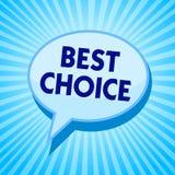Choix des textes d'écriture de Word le meilleur Concept d'affaires pour l'acte de la cueillette ou décidant entre deux bubbl bleu illustration libre de droits