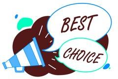 Choix des textes d'écriture de Word le meilleur Concept d'affaires pour l'acte de la cueillette ou décidant entre deux loudspe ou illustration libre de droits