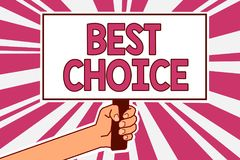 Choix des textes d'écriture de Word le meilleur Concept d'affaires pour l'acte de la cueillette ou décidant entre deux possibilit illustration stock