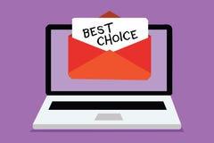 Choix des textes d'écriture de Word le meilleur Concept d'affaires pour l'acte de la cueillette ou décidant entre deux receivin o illustration stock