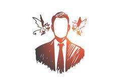 Choix, intuition, homme d'affaires, doute, concept d'opposition Vecteur d'isolement tiré par la main Illustration Stock
