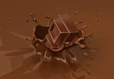 Chokblokken die in het vloeibare chocolade bespatten vallen Royalty-vrije Stock Foto