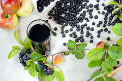Choke berry juice. Aronia - Black Choke berry fruits and juice. Separated pile of fruit, twig with leaves, and bunch stock image