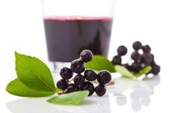 Chokeberries, γυαλί με το χυμό aronia Στοκ Φωτογραφίες