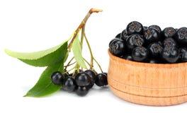 Chokeberry με το φύλλο στο ξύλινο κύπελλο που απομονώνεται στο άσπρο υπόβαθρο Μαύρο aronia Στοκ φωτογραφία με δικαίωμα ελεύθερης χρήσης