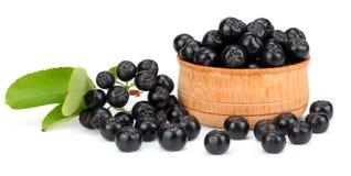 Chokeberry με το φύλλο στο ξύλινο κύπελλο που απομονώνεται στο άσπρο υπόβαθρο Μαύρο aronia Στοκ Εικόνες