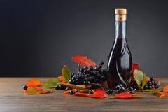 Chokeberry y botella negros con el jugo fotografía de archivo