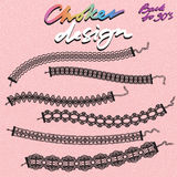 Choker design. Collection of chokers. Vector illustration Royalty Free Stock Photos