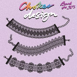 Choker design. Collection of chokers. Vector illustration Royalty Free Stock Photo