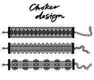 Choker design. Collection of chokers. Vector illustration Royalty Free Stock Image