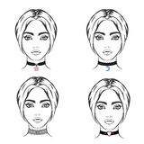 Choker set vector. Necklace with symbol Royalty Free Stock Image