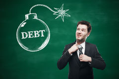 Choking businessman and debt sketch Stock Images