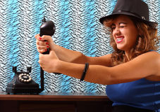 Choking the phone Stock Image