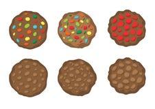 Choklad bakade kakor på den vita bakgrundsillustrationvektorn stock illustrationer