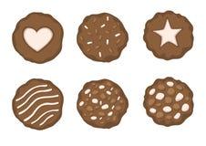 Choklad bakade kakor p? den vita bakgrundsillustrationvektorn royaltyfri illustrationer