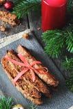 Choklad Biscotti med pistascher och tranbär Royaltyfria Foton