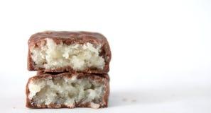 Choklad bommar för med kokosnöten Fotografering för Bildbyråer