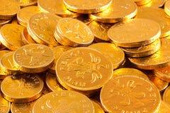 choklad coins guld- Arkivbilder