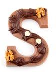 choklad dekorerade sinterklaas för bokstav s Arkivbild