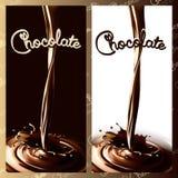 Choklad eller kakao för realistisk färgstänk flödande i mörker- och vitbakgrunden den lätta designen redigerar element till vekto stock illustrationer