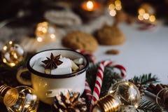 Choklad eller kakao med marshmallowen, kakor, godis på vit bakgrund royaltyfria foton