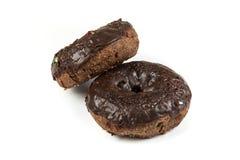 Choklad glaserade kakadonuts Arkivbild