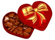 Choklad i en boxas som en gåva för valentin dag Arkivfoton