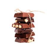 choklad isolerade muttrar Arkivfoton