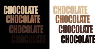 Choklad isolerat ord med texturen av choklad vektor illustrationer