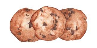 Choklad kaka För vattenfärgmat för hand utdragen illustration royaltyfri illustrationer