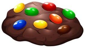 Choklad kaka med godisen royaltyfri illustrationer