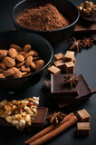 Choklad, muttrar, sötsaker, kryddor och farin Arkivbild