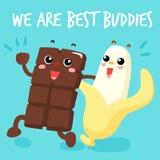 Choklad och bananen är bästa kompisar Arkivfoto