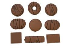 Choklad och chokladkex arkivfoton