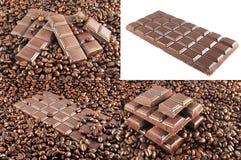 Choklad- och kaffebönor Royaltyfri Fotografi