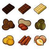 Choklad- och kaffesymbolsuppsättning stock illustrationer