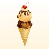 Choklad- och Vanilla Ice krämkotte Arkivfoto