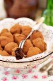 Choklad Prune Truffles royaltyfri bild