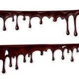 choklad som flödar, i rörelse, droppar av choklad, dryper, royaltyfri illustrationer
