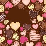 Chokladbakgrund för text med hjärta Arkivfoton